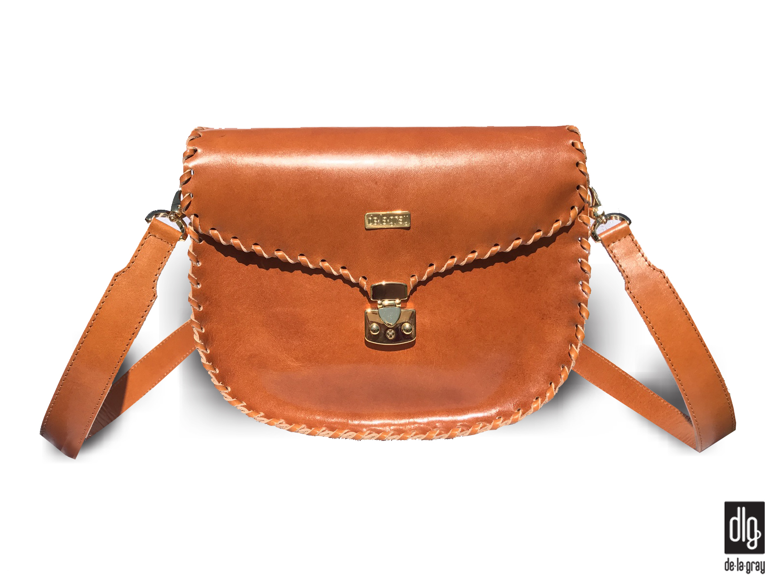 Saddle casual crossbody kabelka Cognac